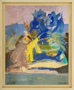 Herta LEBK – L'arbre bleu - tempera sur papier - 60 X 49 cm 1980 FORMAT CADRE 68 X 55,5