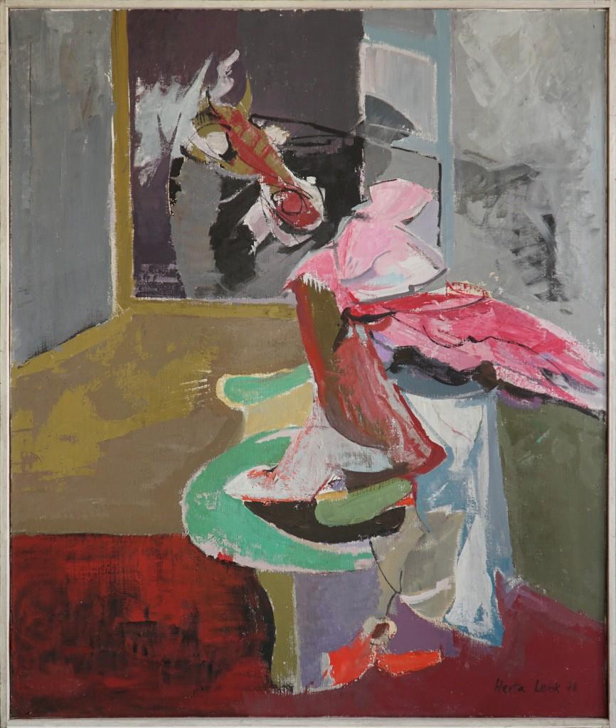 Herta LEBK – Le cheval à la fenêtre – huile sur toile – 105 x 89 cm – 1978