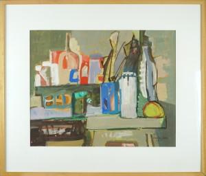 Herta LEBK – Nature morte à l'atelier – gouache sur papier – 41 x 51 cm FORMAT CADRE 62 X 72