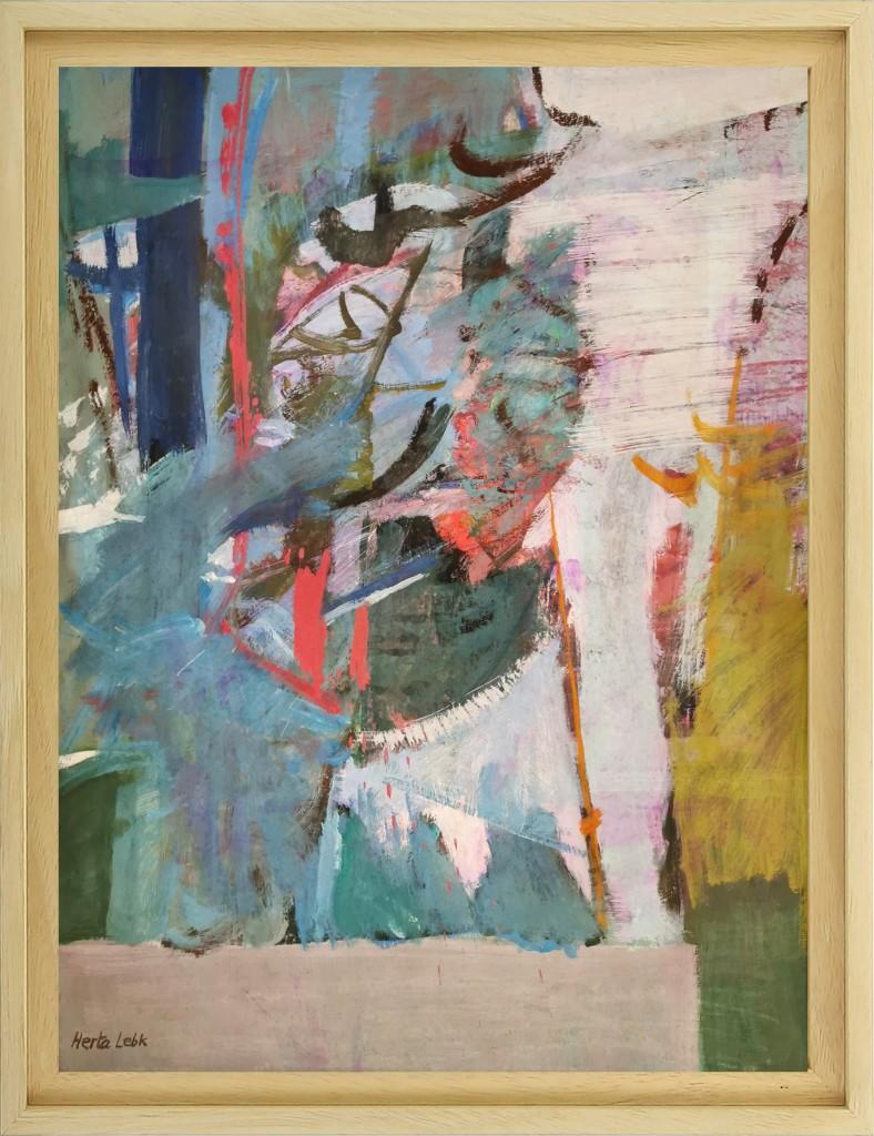 Herta LEBK – Paysage gestuel - tempera sur papier 60 X 45 cm - 1988 FORMAT CADRE 68 X 51